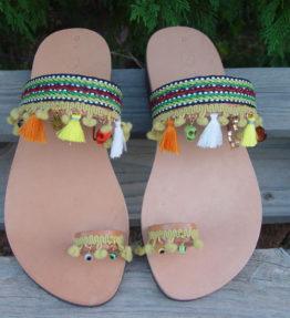 Greek Leather Sandals Pom Pom Fringe Boho