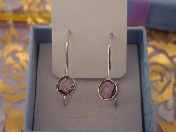 Amethyst Hanging Earrings Sterling Silver 925