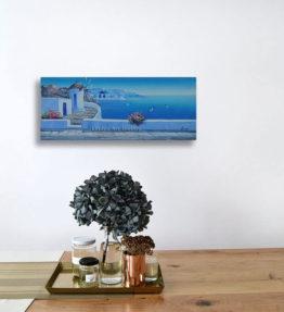 Greek Windmill Church Blue Sea Oil Painting